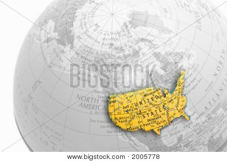 Us Colored Map On A Grayscale Globe