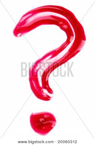 Question-mark Shaped Red Fluid Lips Gloss Samples, Isolated On White
