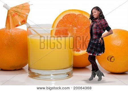 Black Teenager With Orange Juice
