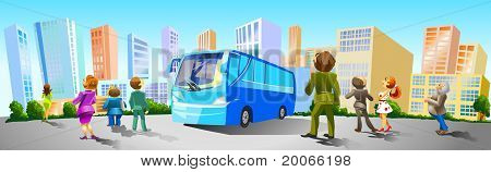 People came by bus to buy Real Estate.