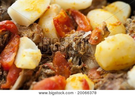 Meat With Potatoes In The Pot, Closeup