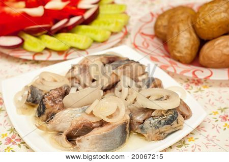 Herring With Onions Isolated On White Background