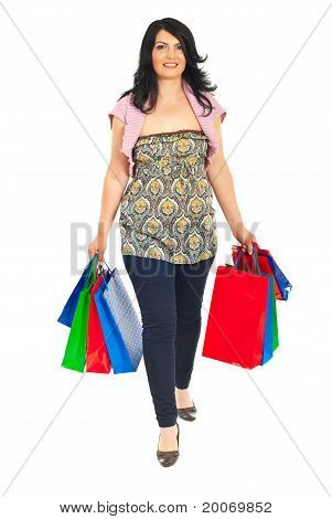 Smiling Woman Going To Shopping