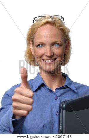 Businesswoman Giving The Thumb Up