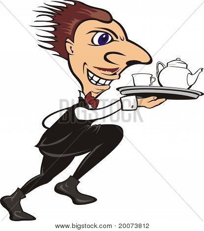 ober met thee of koffie