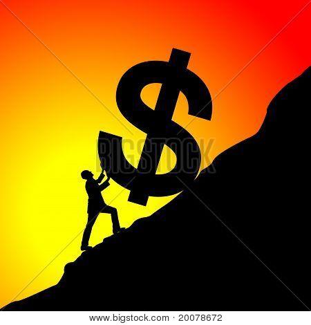 Empresario subir el símbolo de dólar