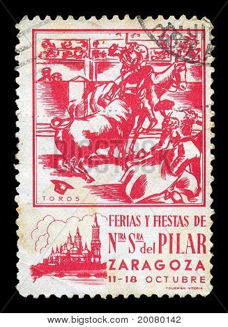 Bullfighting Vintage Postage Stamp