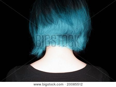 Woman With Funky Hair Style On Black Background