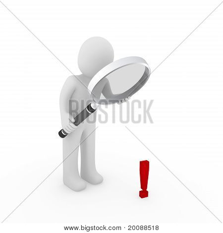 3D Man Human Loupe Exclamation Mark