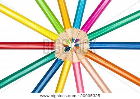 Set Of Colored Pencils Arranged In Circle