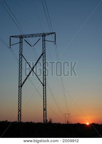 Power Line Sunrise 4 Vertical