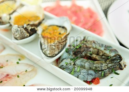 Plate With Oysters, Seabass And Shrimps