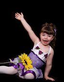 foto of lap dancing  - proud little girl in purple and white ballet - JPG