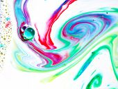 Abstract colors, backgrounds and textures.  Food Coloring in milk. Food coloring in milk creating br poster