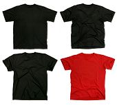 stock photo of t-shirt red  - Photograph of four blank t-shirts new and old wrinkled and flat. Ready for your design or logo.