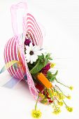 pic of leghorn  - Hat and flower bouquet isolated on white background - JPG