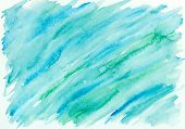 Hand Painted Abstract Watercolor Background In Blue And Green poster