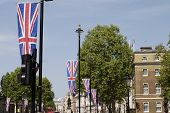 Flag in Whitehall. London. England. poster
