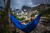 Woman Relaxes On A Hammock Lake Isabelle Colorado poster