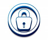 picture of locksmith  - 3d glossy lock icon blue isolated on white background - JPG