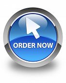 Order Now (cursor Icon) Glossy Blue Round Button poster