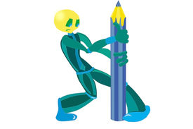 pic of budge  - Little strong man tries to budge pencil - JPG