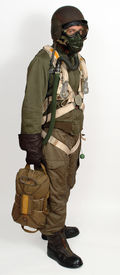 image of b24  - Reconstruction of a WW11 American airman in full flying clothing and equipment including parachute and steel helmet - JPG