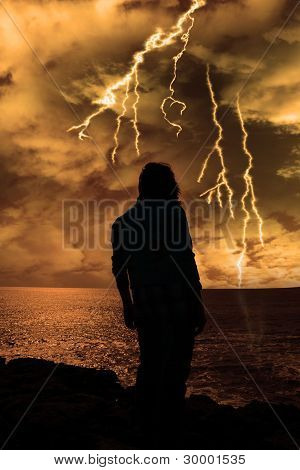 Woman Looks Out At Storm As If Life Is Just To Much
