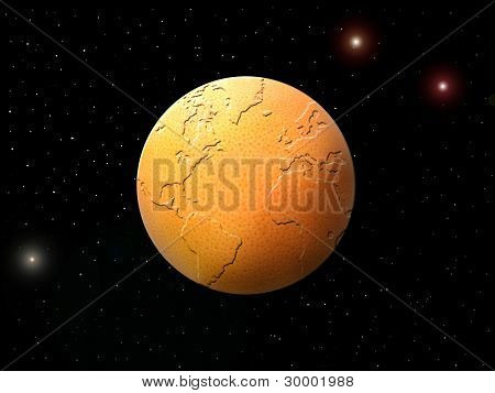 Globe In The Form Of An Orange Against The Star Sky