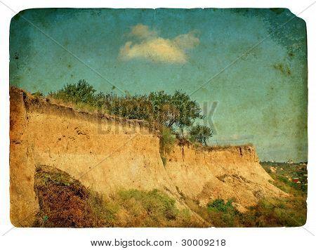 Landslide Of Soil, Natural Hazards. Old Postcard.