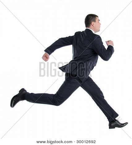 business man running on isolated white background