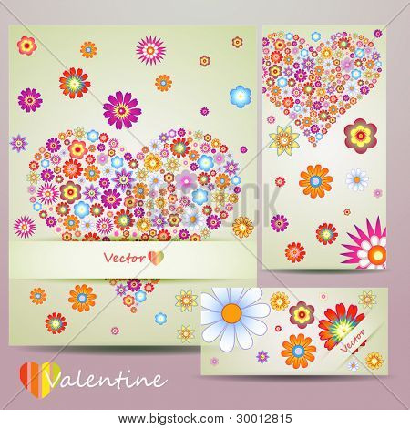 Beauty colorful card set with heart and flower, vector