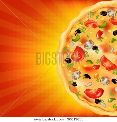 Pizza Poster With Sunburst, Vector Illustration