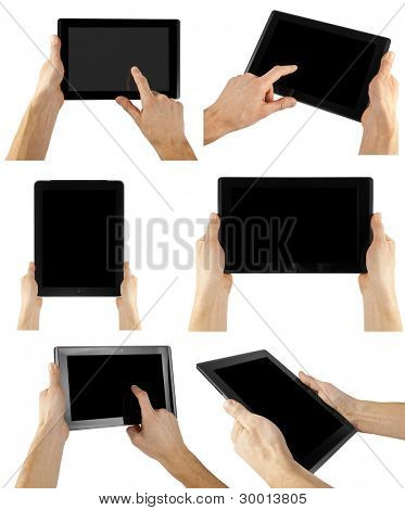 tablet computer isolated in a hand on the white backgrounds. collections