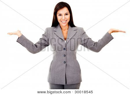 Happy business woman smiling with arms up - isolated over a white backgroudn