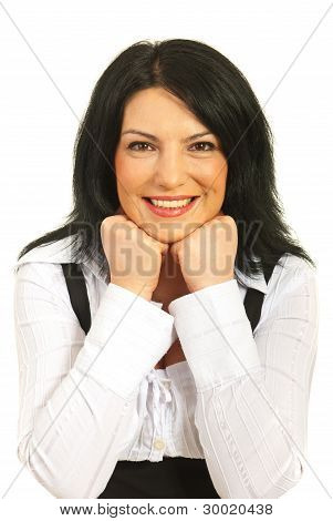 Happy Woman Rests On Elbows