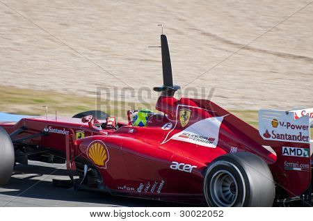 Felipe In His Ferrari - Jerez F1 Test 2012