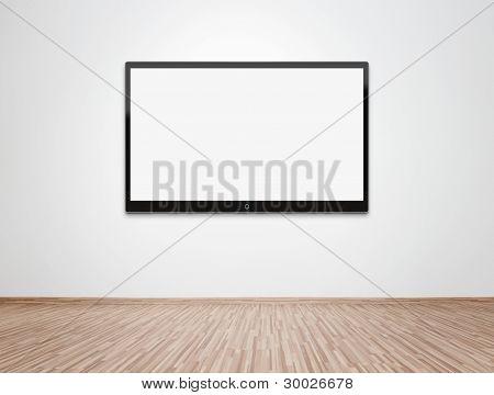 leeren Raum mit hd-Fernseher an der Wand