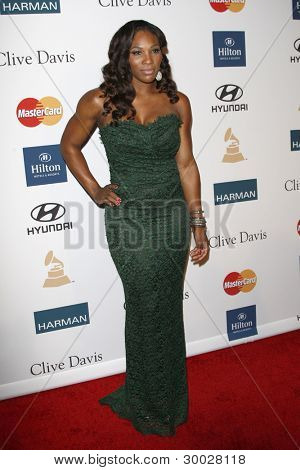 LOS ANGELES - FEB 11:  Serena Williams arrives at the Pre-Grammy Party hosted by Clive Davis at the Beverly Hilton Hotel on February 11, 2012 in Beverly Hills, CA