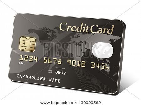 Golden credit card. Payment concept.