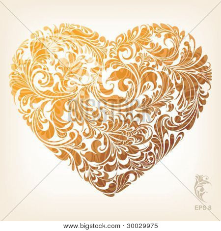 Gold stylish heart with floral ornament, vector illustration