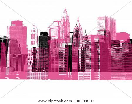 Cityscape New York City silhouette