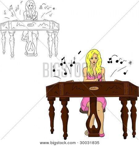 vector - young grirl playing the dulcimer, isolated on background