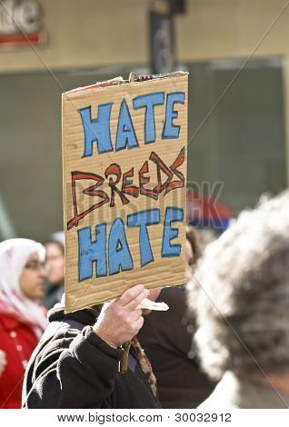 """Hate Breeds Hate"" sign at the Celebration of Diversity event t"