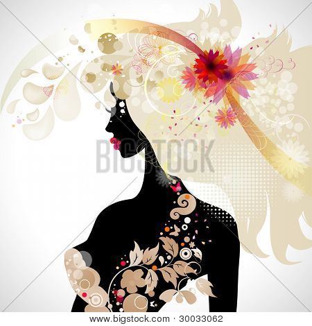 raster version of abstract decorative composition with girl