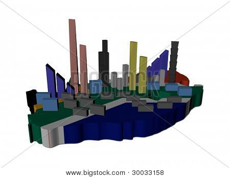 abstract skyscrapers on South Africa map flag illustration