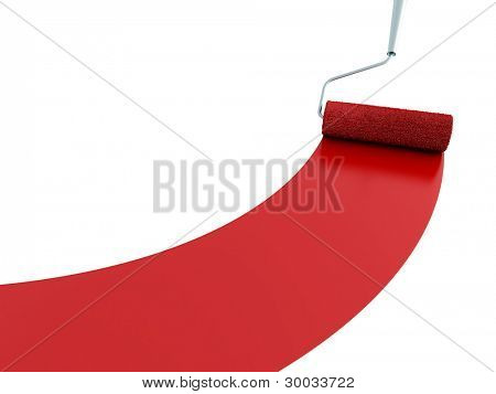Strip of a red paint and the painting platen