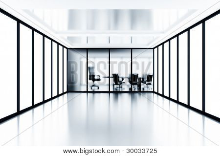 meeting room and glass windows in modern office building