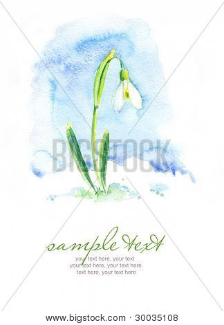 Painted watercolor card with snowdrop and text