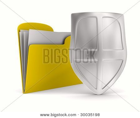 Yellow computer folder with shield. Isolated 3d image